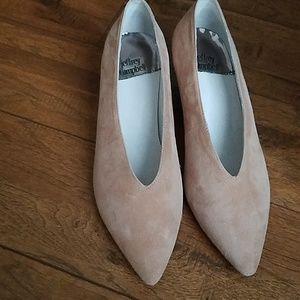 Jeffrey Campbell beige/pink suede Cara heels